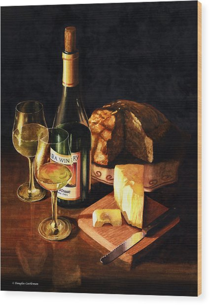 Wine With Cheese Wood Print
