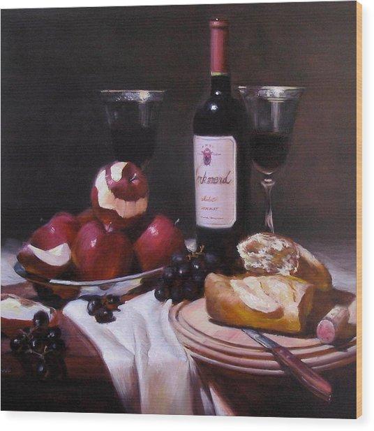 Wine With Peeled Apples Wood Print by Takayuki Harada