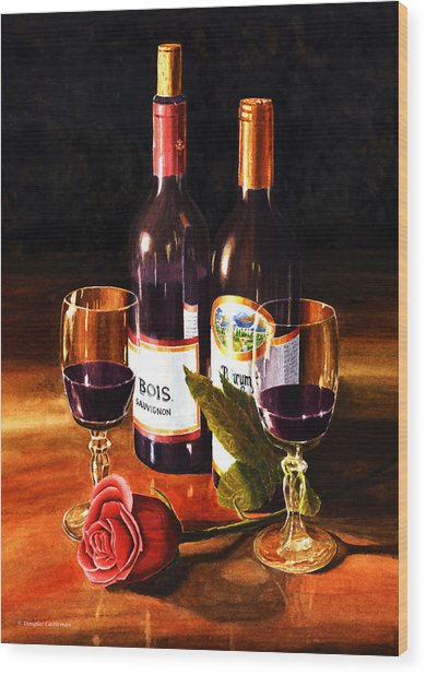 Wine With Rose Wood Print