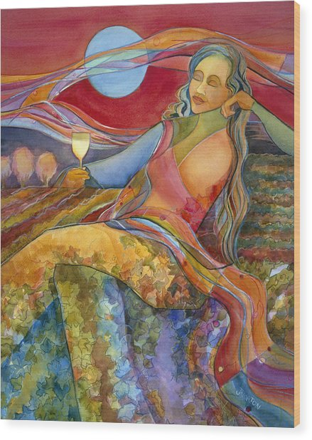 Wine Woman And Song Wood Print
