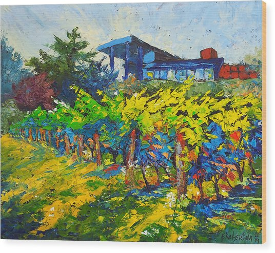 Winery Painting With Oils On Black Canvas Wood Print