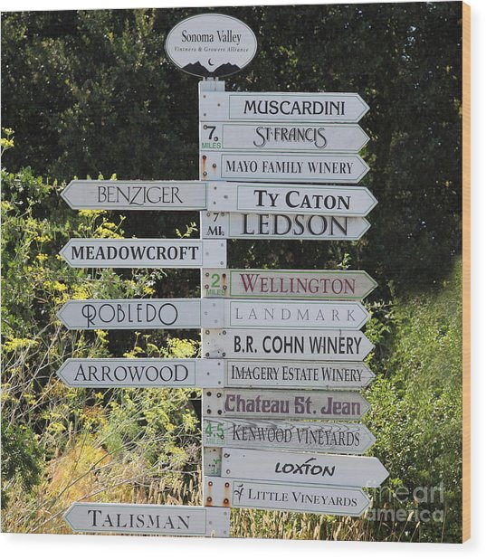 Winery Street Sign In The Sonoma California Wine Country 5d24601 Square Wood Print by Wingsdomain Art and Photography