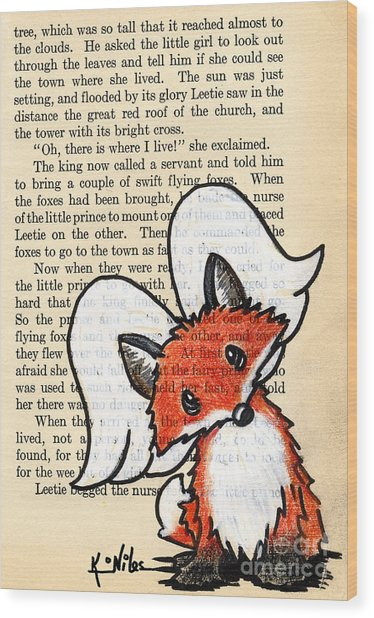 Winged Fox Wood Print by Kim Niles