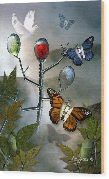 Winged Metamorphose Wood Print