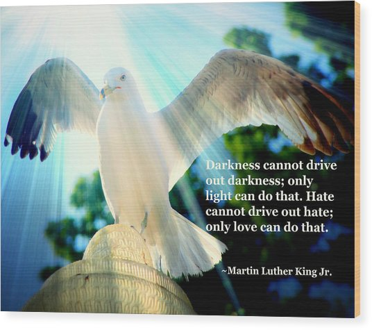 Wings Of Freedom Illuminated With Martin Luther King Jr. Quote II Wood Print