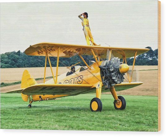 Wood Print featuring the photograph Wingwalking by Paul Gulliver