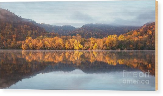 Wood Print featuring the photograph Winona Mn Fall Colors Panorama No Towers by Kari Yearous
