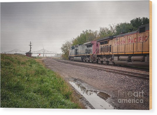 Wood Print featuring the photograph Winona Mn Train Scene Puddle by Kari Yearous