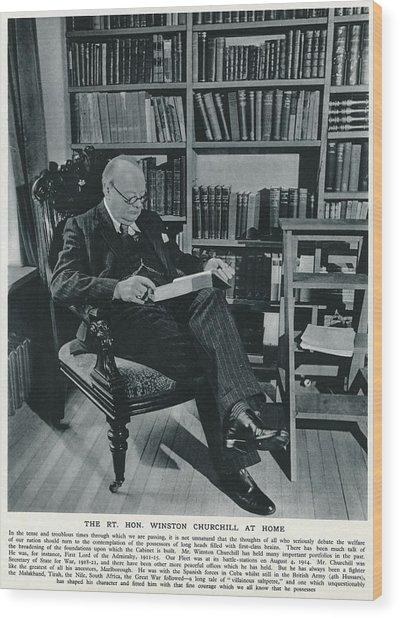 Winston Churchill  At Home, Reading Wood Print by  Illustrated London News Ltd/Mar
