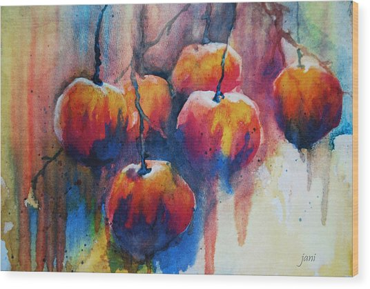 Wood Print featuring the painting Winter Apples by Jani Freimann