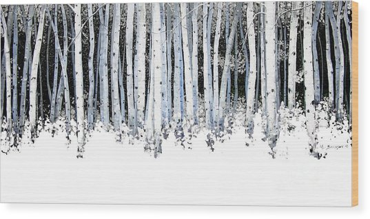 Winter Aspens  Wood Print