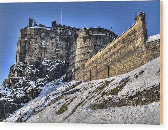 Winter At Edinburgh Castle Wood Print