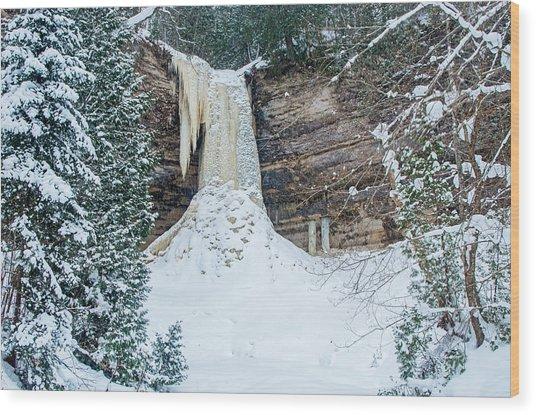 Winter At Munising Falls Wood Print