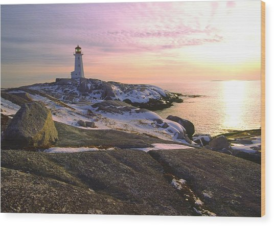 Winter At Peggy's Cove Wood Print