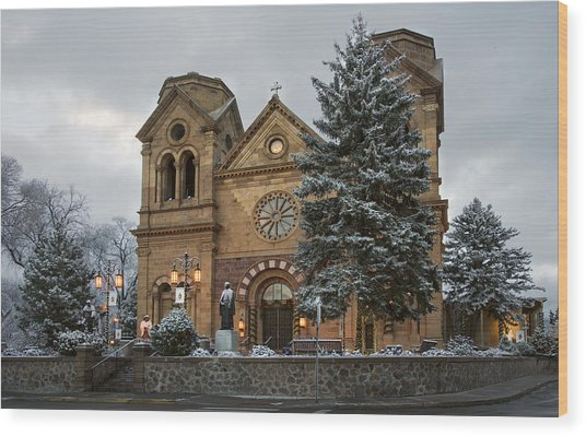 Winter At St Francis Cathedral In Santa Fe New Mexico Wood Print