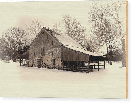 Winter At The Horse Barn Wood Print