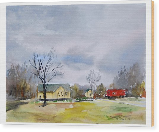 Origional  Sold - Winter At The Train Museum Tomball Tx Wood Print by TD Wilson