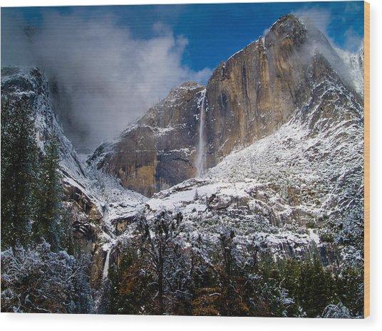 Winter At Yosemite Falls Wood Print