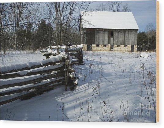 Winter Barn I Wood Print