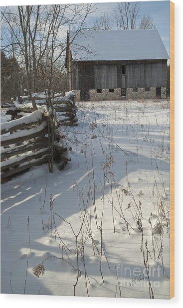 Winter Barn II Wood Print