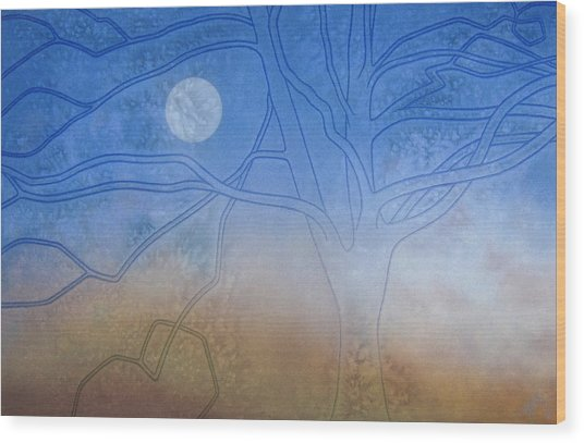 Winter Beech And Diurnal Moon Wood Print