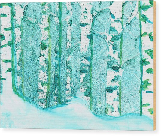 Winter Birch 2 Wood Print