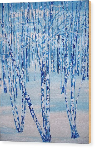 Winter Birch Wood Print