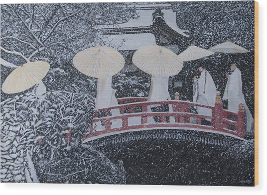 Winter Bridge Of Japan Wood Print