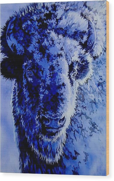 Winter Buffalo Wood Print