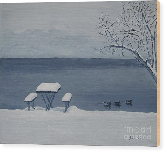 Winter By The Lake Wood Print