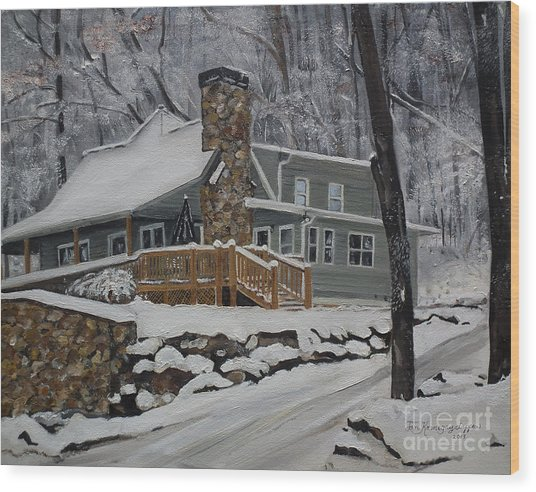 Winter - Cabin - In The Woods Wood Print