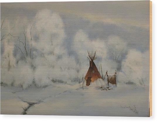 Winter Camp Wood Print