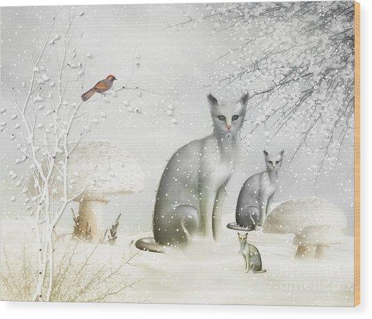 Winter Cats Wood Print