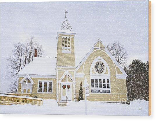 Winter Chapel Wood Print