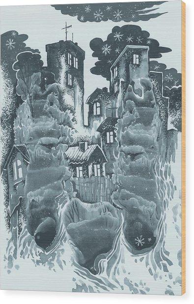Winter City Wood Print