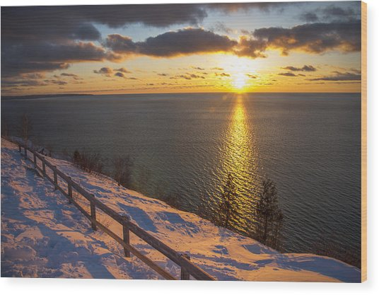 Winter Cliffs On Lake Michigan Wood Print