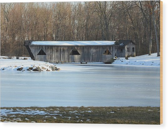 Winter Covered Bridge Wood Print by Jennifer  King