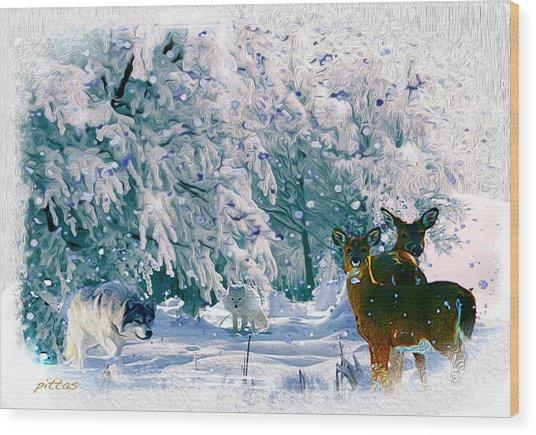 Winter Deer Wood Print