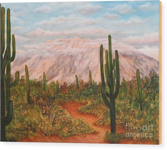 Winter Desert At Sunset Wood Print by Judy Filarecki