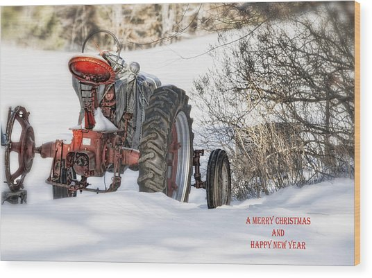 Winter Downtime Christmas Card Wood Print