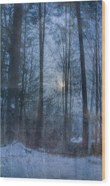 Winter Early Morning Setting Moon Wood Print