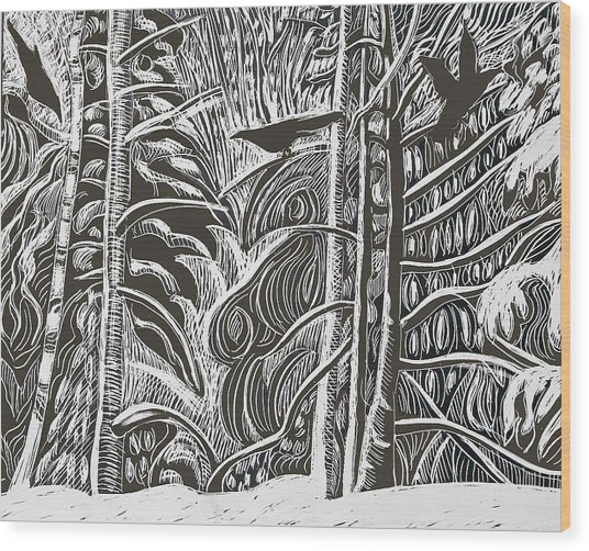 Winter Etching Wood Print