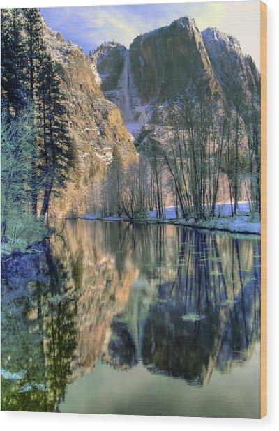 Winter Falls Wood Print