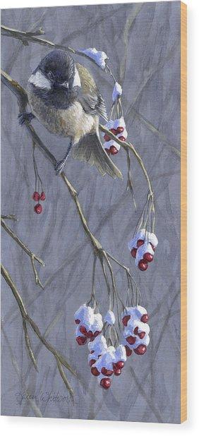 Winter Harvest 1 Chickadee Painting Wood Print