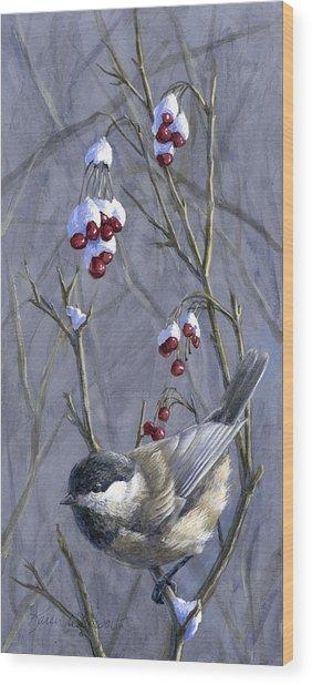 Winter Harvest 2 Chickadee Painting Wood Print