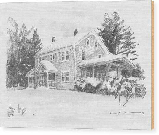 Winter House Pencil Portrait Wood Print by Mike Theuer