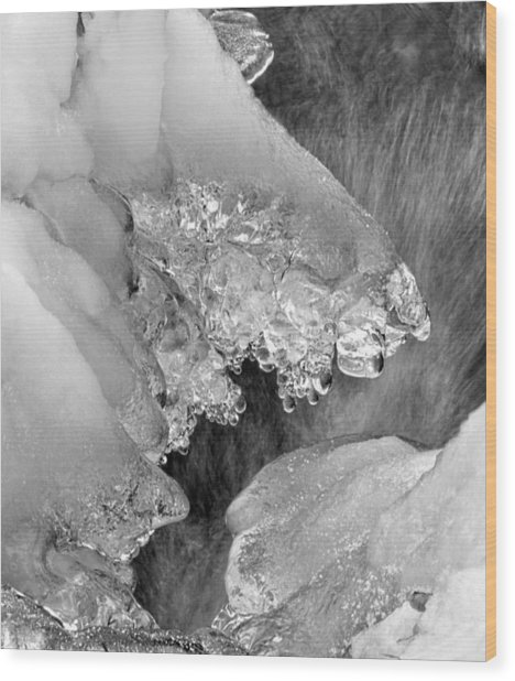 Winter Ice In Black And White Wood Print