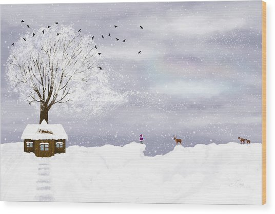 Winter Illustration Wood Print