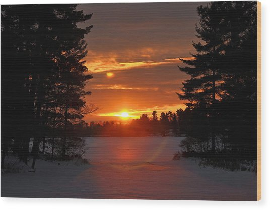 Winter Lake Sunset Wood Print by RJ Martens