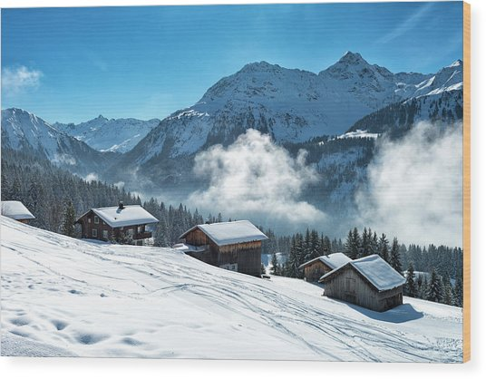 Winter Landscape With Ski Lodge In Wood Print